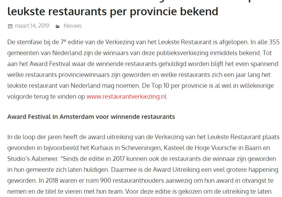 Horeca Vizier Restaurant Verkiezing